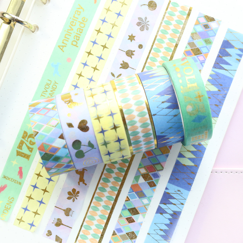 Domikee Cute Candy Japanese Gold Foil Decorative DIY Washi Paper Masking Tapes For Diary Planner Photo Greeting Card Stationery