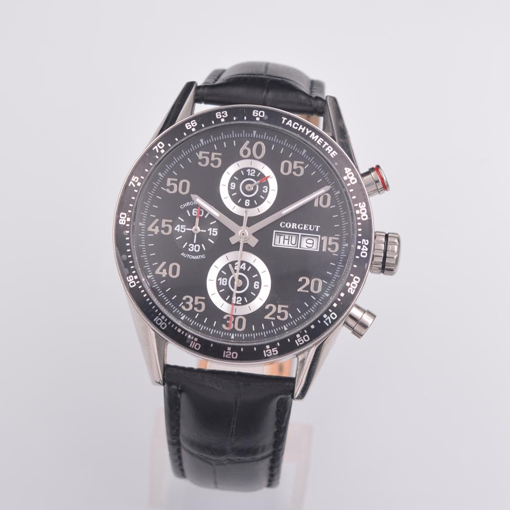 Corgeut 43mm Men Watch Top Brand Luxury Automatic Mechanical Watch 24 hours Leather Military Watches Clock Men Relojes Masculino