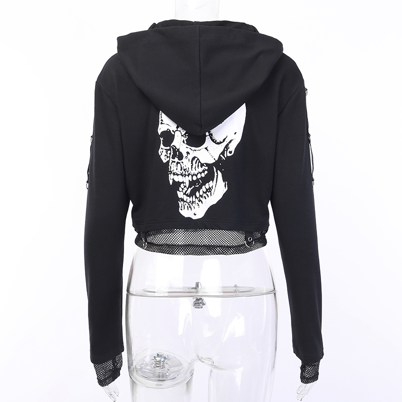 H48fb62c1383e4967b786075f4afdf1321 - InsGoth Women Sweatshirts Cropped Hoodies Gothic Skull Printed Black Loose Short Hoodies Mesh Patchwork Female Streetwear Hooded