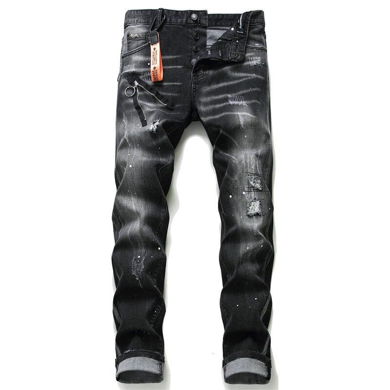 Jeans Men European Dsq Brand Black Men Italy Jeans Men Slim Jeans Pants Mens Denim Trousers Zipper Blue Hole Pencil Pants