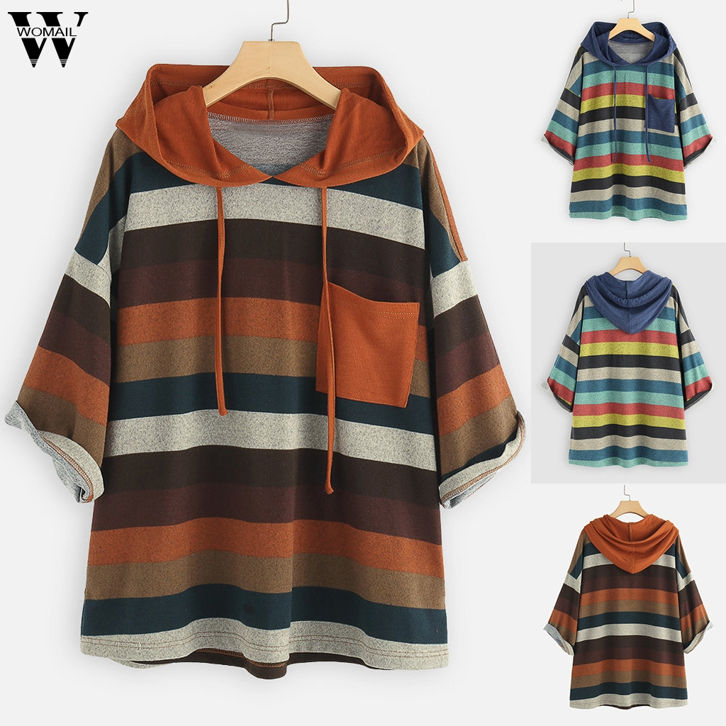 Womail Sweatshirts Women's Fashion Multicolor Striped Printing autumn O-Neck Pocket Tops Loose womens Sweatshirt Sudadera S-XXXL