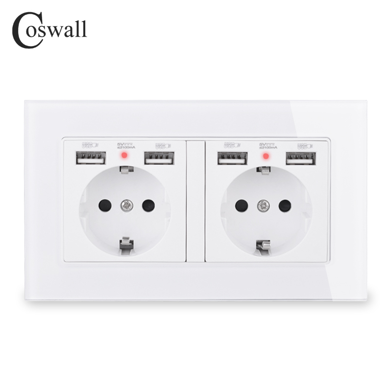 COSWALL Brand 2 Gang Russia Spain EU Standard Wall Socket With 4 USB Charge Port Hidden Soft LED Indicator Crystal Glass Panel