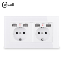 COSWALL Brand 2 Gang Russia Spain EU Standard Wall Socket With 4 USB Charge Port Hidden Soft LED Indicator Crystal Glass Panel цена в Москве и Питере