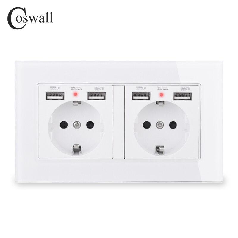 COSWALL Marke 2 Gang Russland Spanien EU Standard Steckdose Mit 4 USB Lade Port Versteckte Weiche Led-anzeige Kristall glas Panel