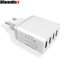 Vanniso 4 USB Charger for iPhone X 8 Samsung A50 Xiaomi mi9 One Plus Tablet Fast Charging Adapter US EU UK Mobile Phone Charger gbwd сине фиолетового us 16w uk 20 eu 46