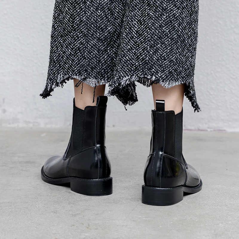 Donna-in kadın ayak bileği Chelsea çizmeler hakiki inek deri siyah patik yuvarlak ayak düşük topuklu kayma rahat marka kadın ayakkabı 2019