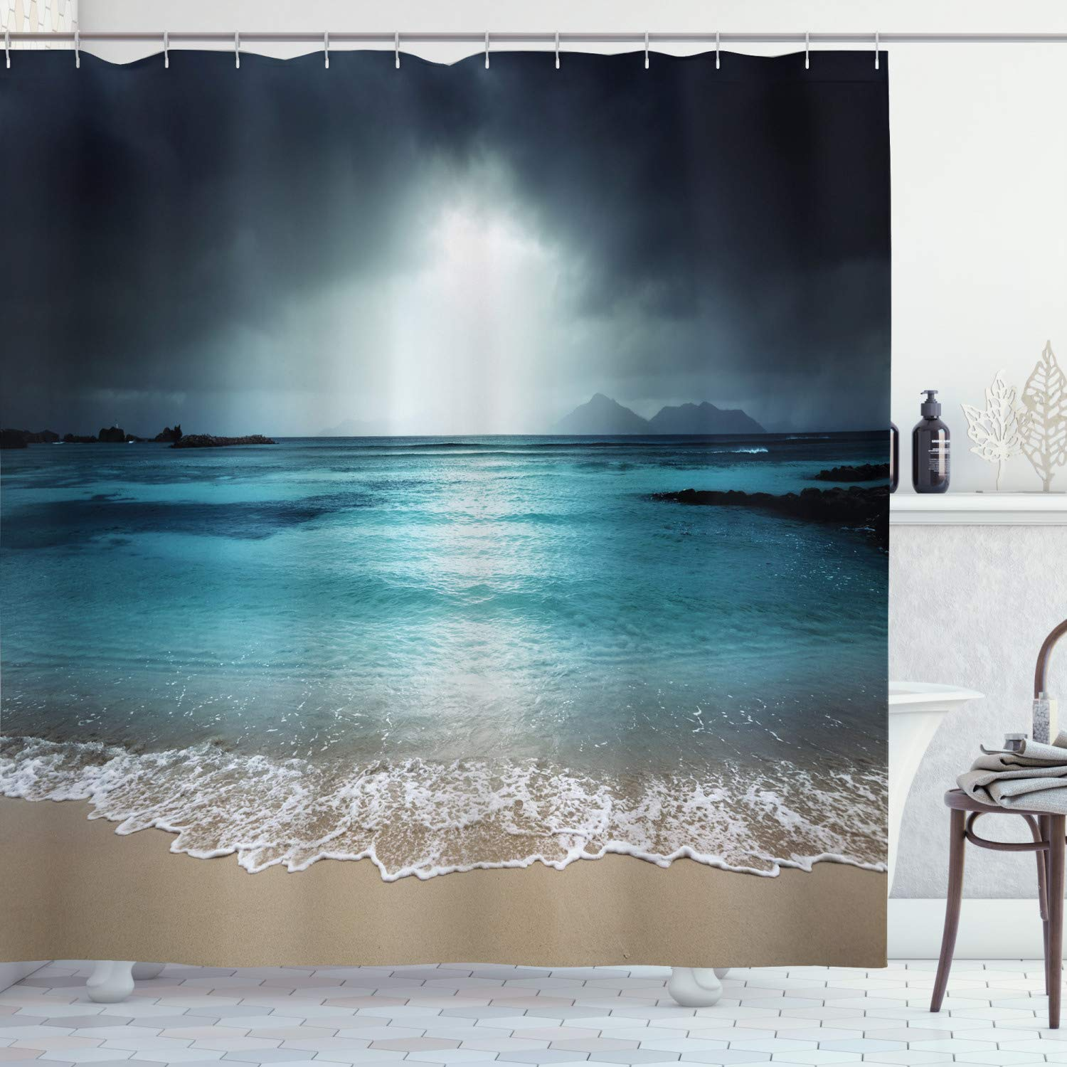 Us 6 49 35 Off Tropical Shower Curtain Storm Sky On The Beach Of La Dugue Island Seychelles Dramatic Scene Fabric Bathroom Decor Set With Hooks In