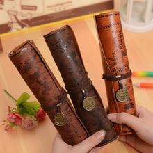 Винтажный пенал в ретро-стиле с картой сокровища, роскошный кожаный чехол для ручки из ПУ кожи, сумка для канцелярских принадлежностей, школьные принадлежности, косметичка для макияжа