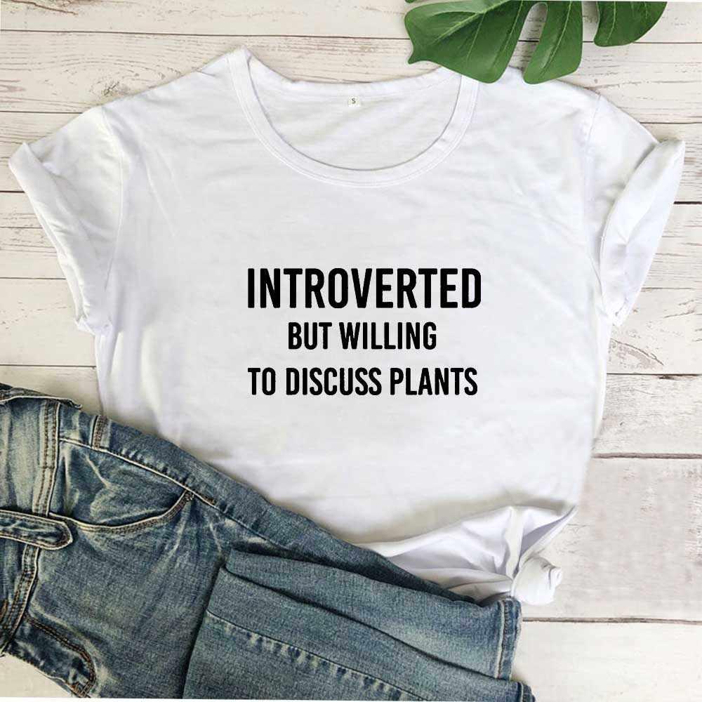 Introverted하지만 기꺼이 재미 T 셔츠 여성 탑 여름 Tshirt 여성 코튼 반팔 Camiseta Mujer 블랙 Femme 티셔츠