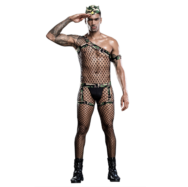 New sexy club men's sexy lingerie sexy camouflage uniform cosplay costume Ships within 48 hours