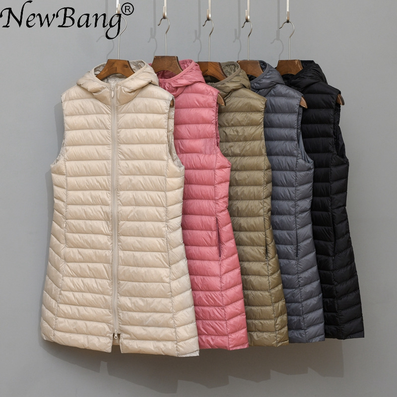 NewBang Ultra Light Down Vest Women Brand Long Vest Women  Hooded Lightweight Waistcoat Female Down Coat Long Slim Sleeveless