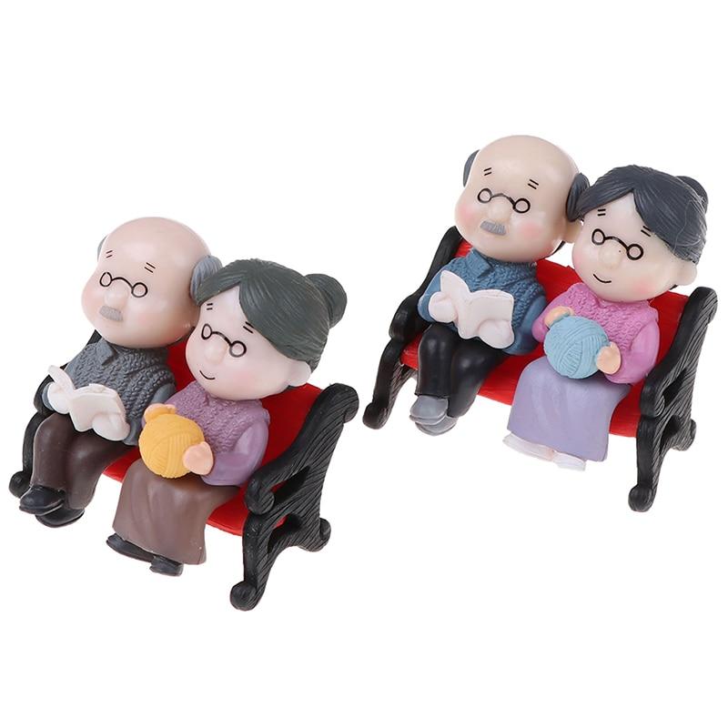 Bonsai  Dollhouse Couple Dolls Miniatures Toy Home Decor Grandparents Figurines