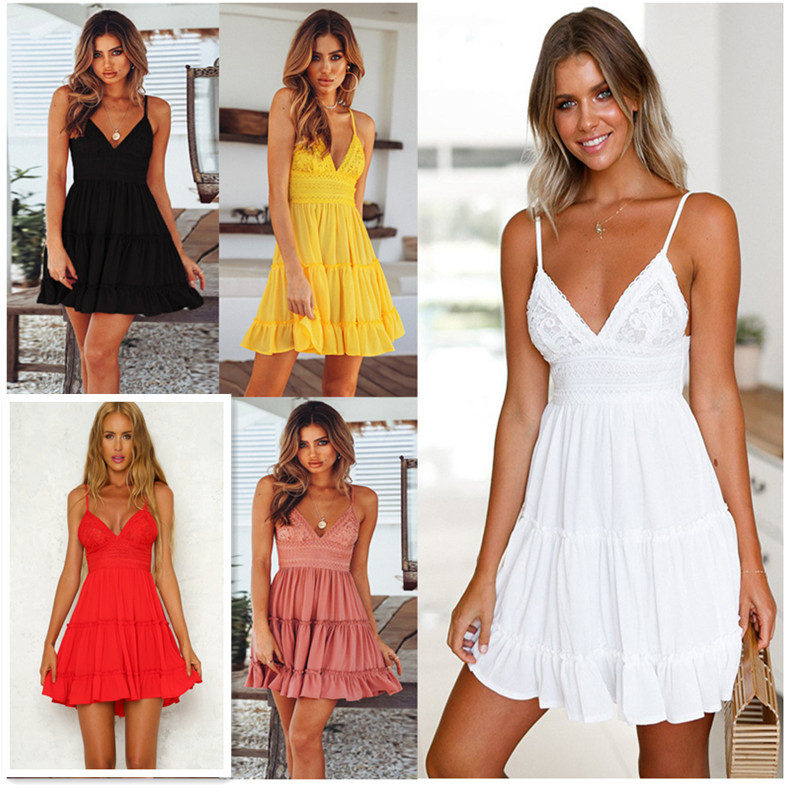 Summer Pop New <font><b>Womens</b></font> <font><b>Dress</b></font> <font><b>Sexy</b></font> <font><b>Lace</b></font> Sling Stitching Lady <font><b>Dress</b></font> <font><b>Backless</b></font> Bow Princess <font><b>Dress</b></font> Hollow Sleeveless Deep V-neck <font><b>Dress</b></font> image