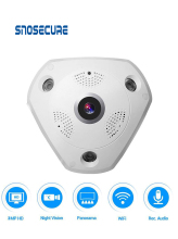 SNOSECURE 3.0MP HD IP Camera Fisheye Camera 1.44mm Lens Night-Vision 2 Way Audio Panoramic Security WiFi Camera