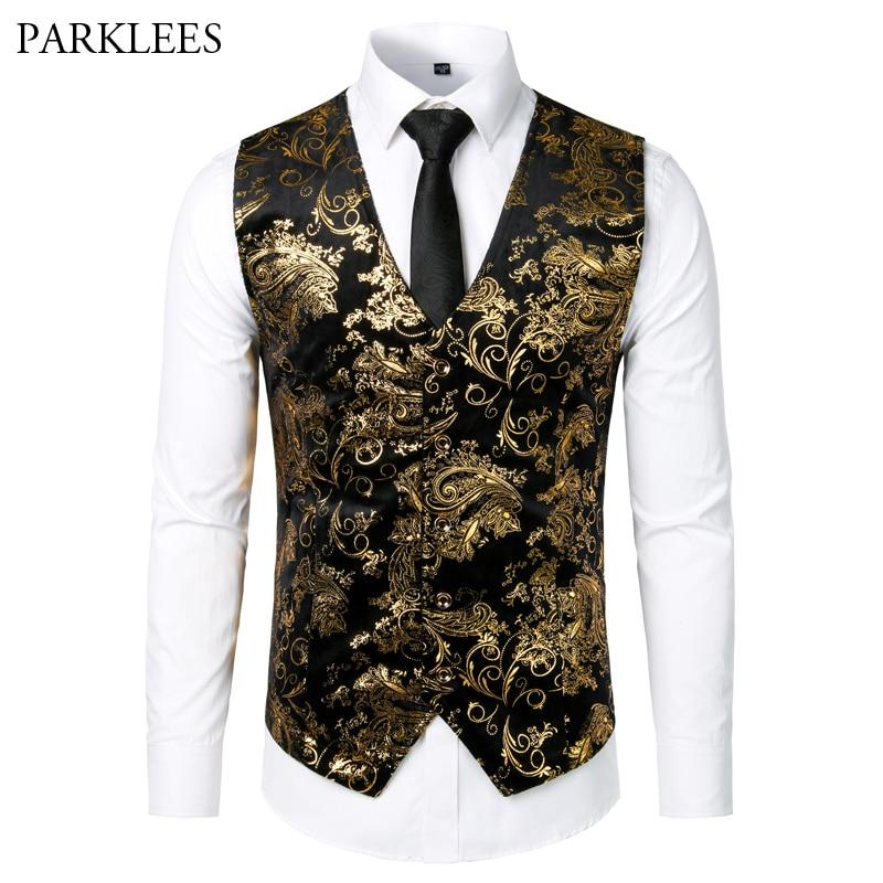 Gold Steampunk Vest Men Suit Gilet Homme Wedding Sleeveless Slim Fit Paisley Floral Dress Vests For Men Single Buttons Waistcoat