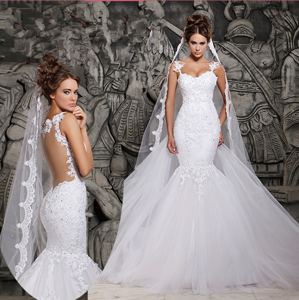 2016 Designers White Lace And See Through Mermaid Wedding Dresses With Removable Train Bridal Dresses Tulle MH-101