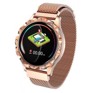 Reloj inteligente D18 de mujer, reloj inteligente con cristales de diamante 3D, control del ritmo cardíaco y de la presión sanguínea y del sueño, el mejor regalo