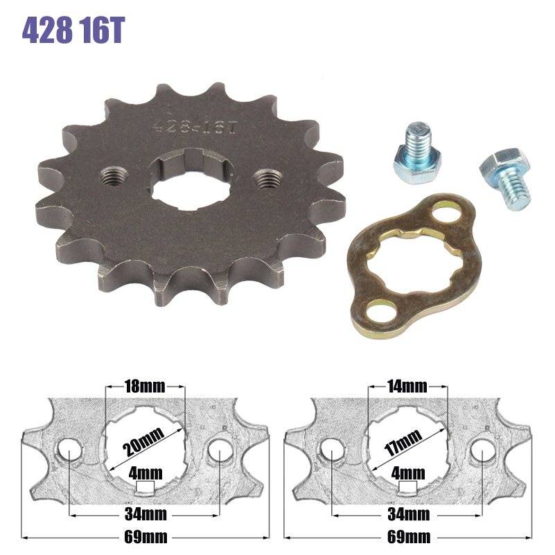 428 Chain 16T 17mm 20mm Front Engine Sprocket For 50cc to <font><b>125cc</b></font> Dirt Bike ATV Go Kart Quad <font><b>Pitbike</b></font> Buggy Motorcycle image