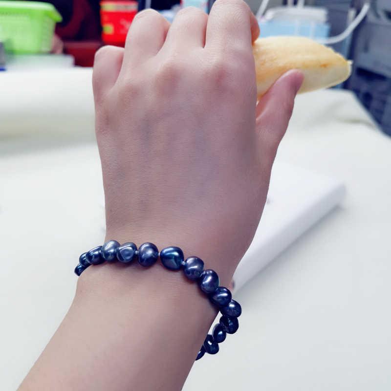 Daimi natural de água doce pérola pulseira estilo clássico branco/roxo/rosa/preto pulseiras para mulher