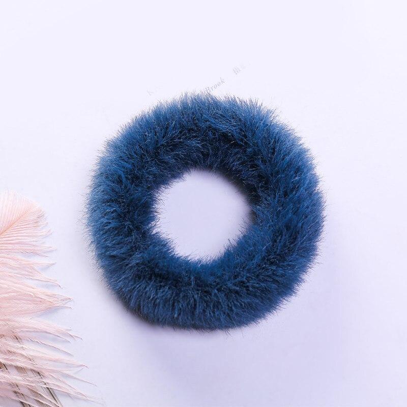 1 мягкий пушистый искусственный мех, пушистый благородный, новинка, шикарные резинки для волос, эластичное кольцо для волос, аксессуары, эластичные розовые резинки для волос - Цвет: 46