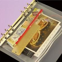 1pc Transparent PVC Storage Card Holder A5 A6 A7 Binder Rings Notebook 6 Hole Bag Envelope Zipper File Folder Accessories