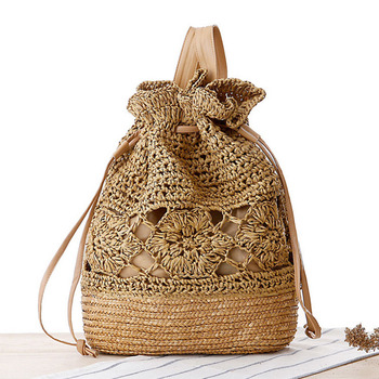 Women Backpack Hollow Out Summer 2020 Handmade Knitted Flower Drawstring Crochet Straw Beach Bags Designer Backpack Female Bag noenname 2018 summer new miao handmade bucket bags ethnic flowers embroidery canvas backpack women bags female national
