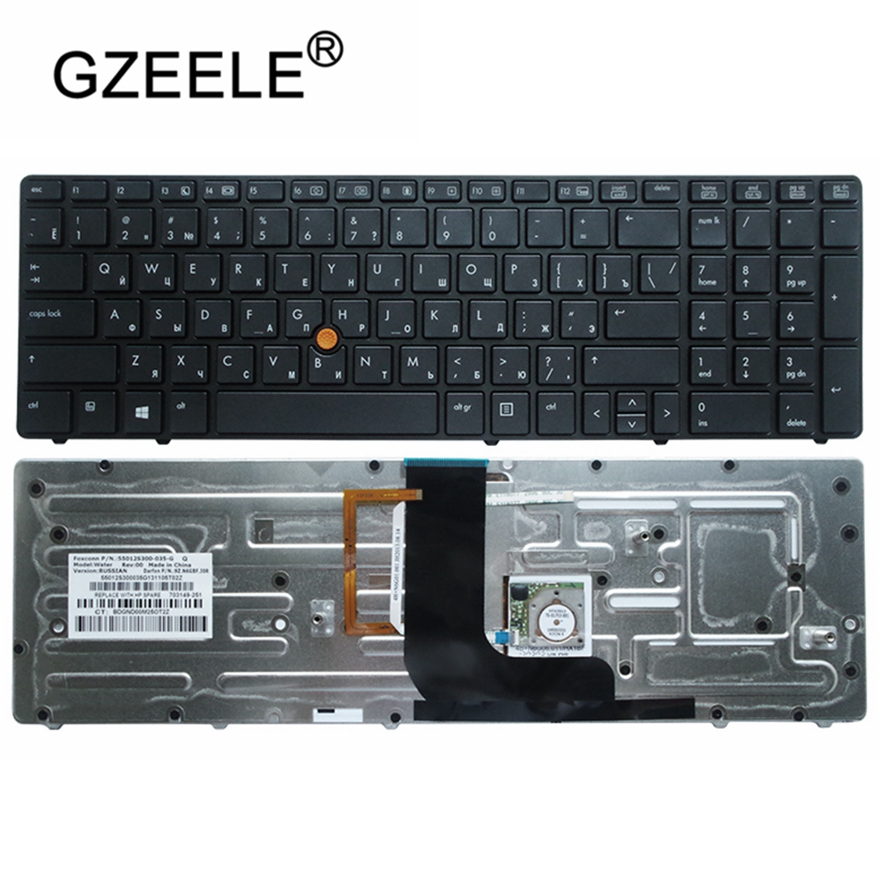 Laptop Accessories New Russian Keyboard For HP Probook 8560W 8570W RU Laptop With Backlight Black