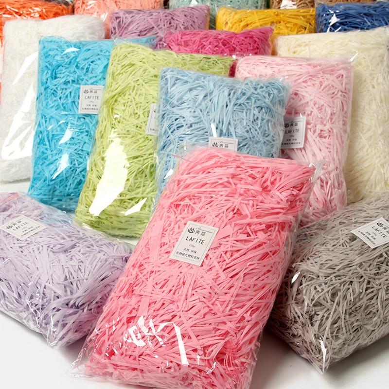 100 г, красочные измельченные мерцающие конфетные коробки, сделай сам, Подарочный ящик, заполняющий материал, ткань, бумажная рафия, наполнит...