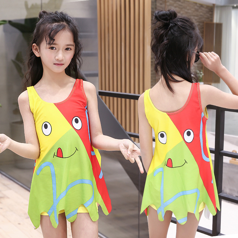 Split Type KID'S Swimwear Girls Boxer Skirt Tour Bathing Suit Cute Lotus Edge Cartoon Medium-small Big Kid Hot Springs Bathing S