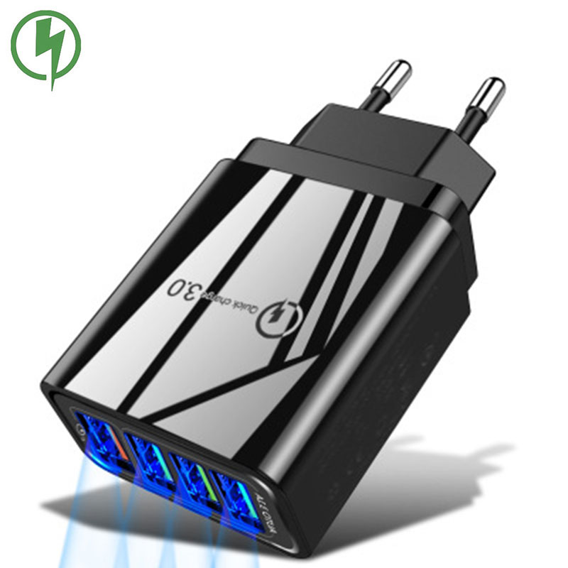 General Qc3.0 4 Port USB Charger 5V/3A Mobile Phone Accessories Smart Charging Head For IPhone Xiaomi Huawei Quick Charging
