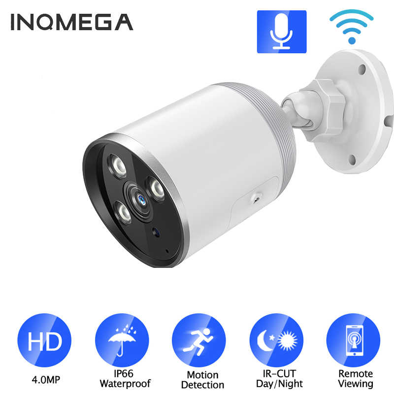 Inqmega H.265 4MP Audio Kamera Keamanan IP POE ONVIF Outdoor Tahan Air IP66 Kamera CCTV P2P Video Surveillance Rumah untuk Poe nvr