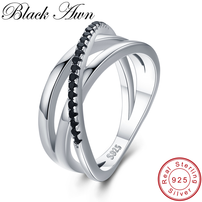 Classic 3.9g 925 Sterling Silver Fine Jewelry Baguet Row Engagement Black Spinel Wedding Rings For Women Bijoux Femme G006