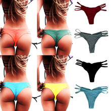 Summer Women Sexy Brazilian Swimming Trucks Shorts Panties Ladies V Thong Cheeky Ruched Bot