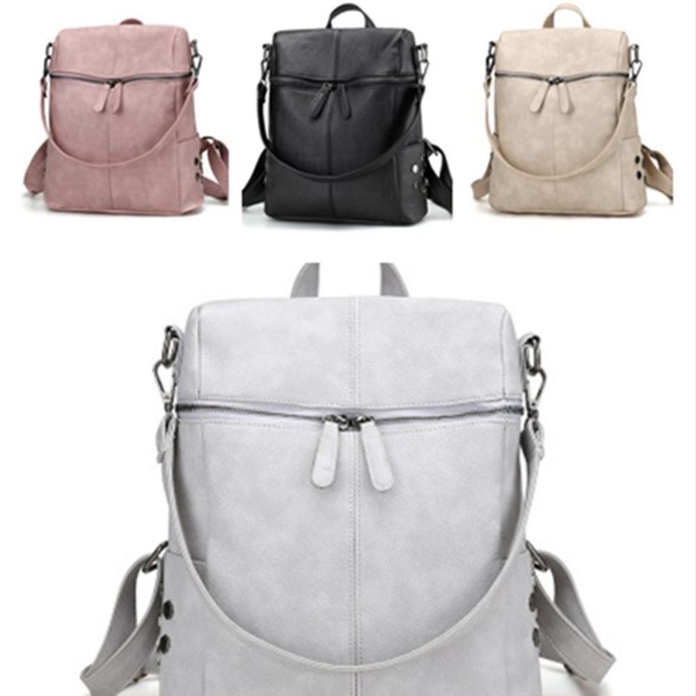 Women Casual Large Capacity Shoulder Bags Vintage Women Backpack Leather Pu School Backpacks For Teenage Girls Travel Bags