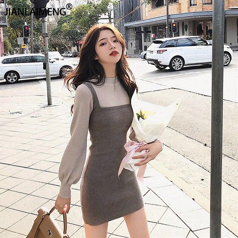 Женское трикотажное платье свитер с длинным рукавом, на осень/зиму|Платья| | АлиЭкспресс