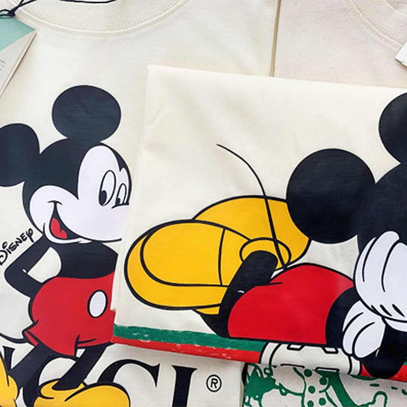 디즈니 2020 t-셔츠 여성 만화 미키 미니 마우스 여성 짧은 여름 일반 t 셔츠 o-넥 화이트 탑스 티 셔츠 루스 Femme