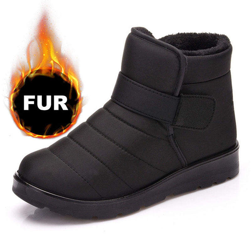 Men Winter Snow Boots Fur Ankle Boots Men Shoes Warm Plush Men Outdoor Work Shoes Waterproof Winter Boots Plus Size