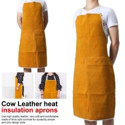 Fartuchy ze skóry bydlęcej spawanie ochrona cieplna spawacze kowal 93x64cm fartuch wysokotemperaturowy fartuch przeciw poparzeniom na