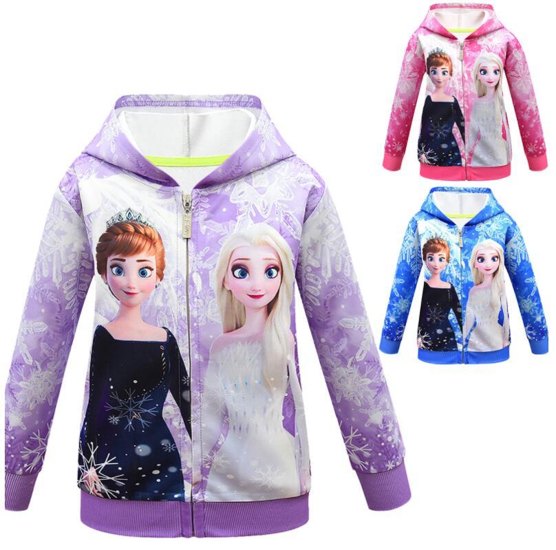 Демисезонная куртка с капюшоном для девочек, с мультяшным принтом «Холодное сердце»