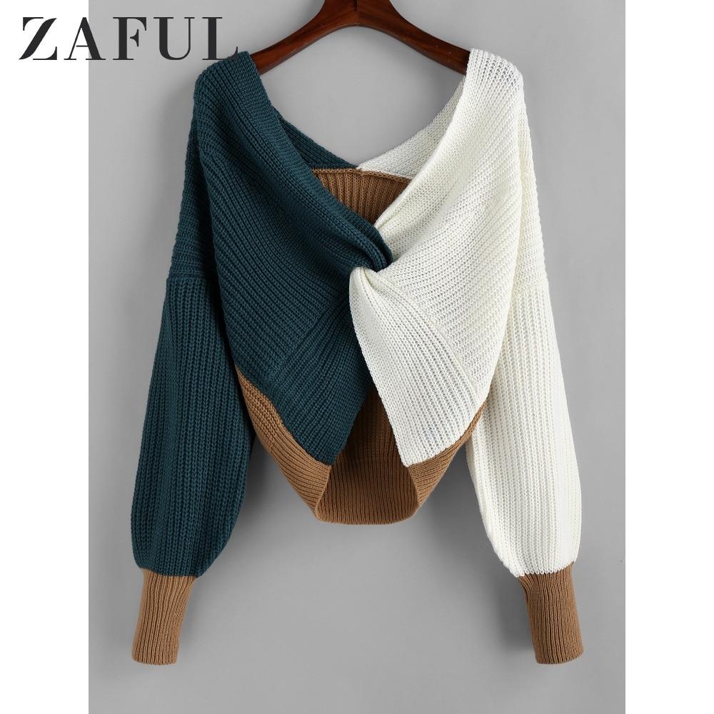 ZAFUL Cotton Sweater Women Pull Femme Plunge Color Blocking Twist Sweater 2019 Winter Pullovers Warm Loose Oversized Sweater