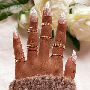 Modyle 8pcs/set Vintage Punk Gold Ring Set for Women Men Fashion Retro Antique Finger Ring Fashion Party Jewelry Lot 2020 NEW