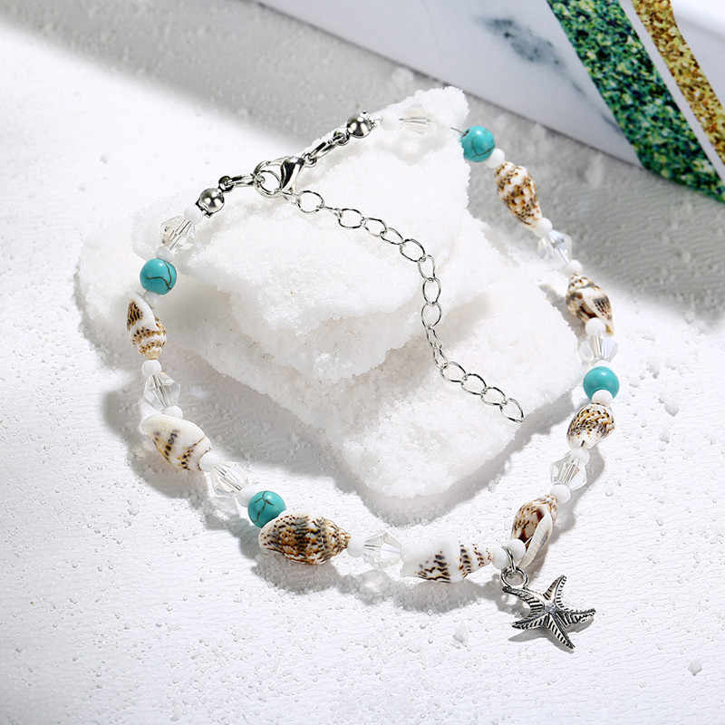 Sea Star Pendant Anklets Women New Stone Beads Shell Anklet Bohemian Bracelets On Leg Ocean Jewelry