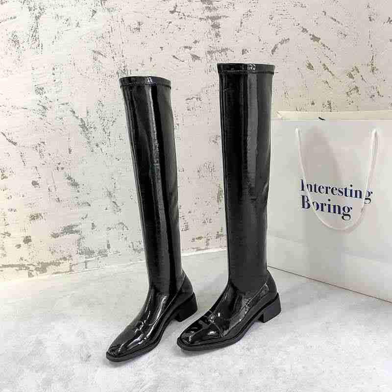Krazing Pot streetwear moda kare ayak inek deri bling streç çizmeler med topuklu kadın sıcak tutmak basit uyluk yüksek çizmeler l36
