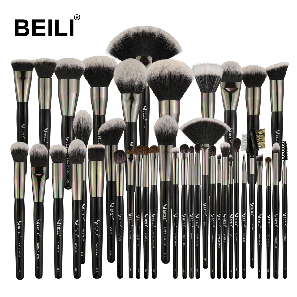 BEILI Black Professional Make Up Brushes Set Soft Natural Goat Hair Powder Blending Eyebrow Fan Foundation Brush Makeup