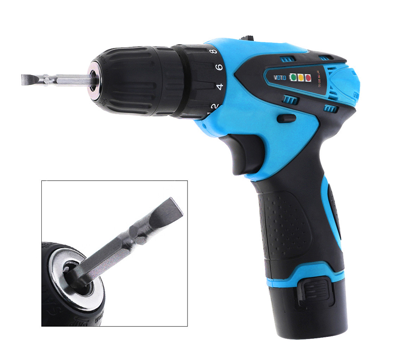 <font><b>12V</b></font> Rechargeable Li Battery <font><b>1.5Ah</b></font> 1200rpm Cordless Two Speed Electric Screwdriver Compact Drill Kit RED OR BLUE image