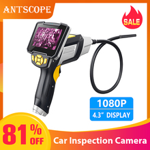 Antscope 1080P HD 8mm Industrial Endoscope 4.3 Inch Car Inspection Camera Handheld 1/3/5/10m Endoscope Snake Tube Hard Camera 19 3 9 mm od handheld flexible snake endoscope inspection camera with 3m 1m cable endoscope 4x zoom snake industrial endoscope