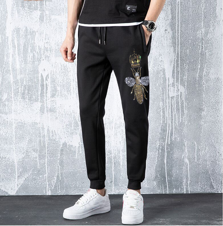 Autumn Streetwear Fitness Pants Men Hip Hop Sweatpants Casual Joggers Unisex Rhinestones Joggers Sweatpants