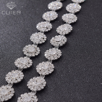 10yards/lot shiny crystal rhinestones trimming silver clothing chain glass strass sewing accessories for wedding dress belt sash