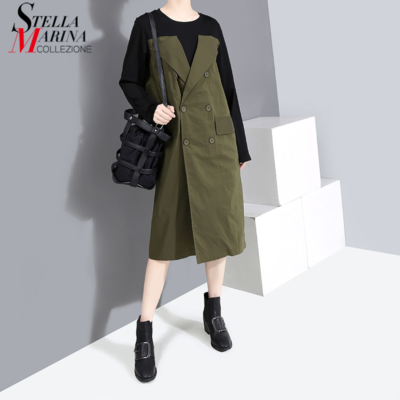 New 2019 England Style Women Autumn Blazer Dress With Sashes Patchwork Long Sleeve Office Ladies Midi Casual Dress Robe 5630