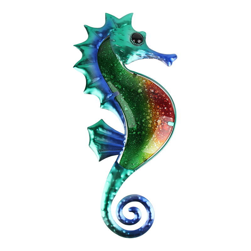 Metal Seahorse Wall Decoration With Painting Glass For Garden Miniature Decoration Outdoor Statues Home And Miniature Garden